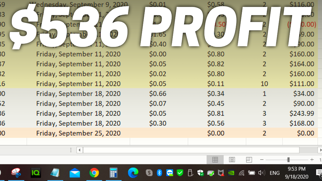 Selling options with Questrade: $536 profit for week ending Sept 18
